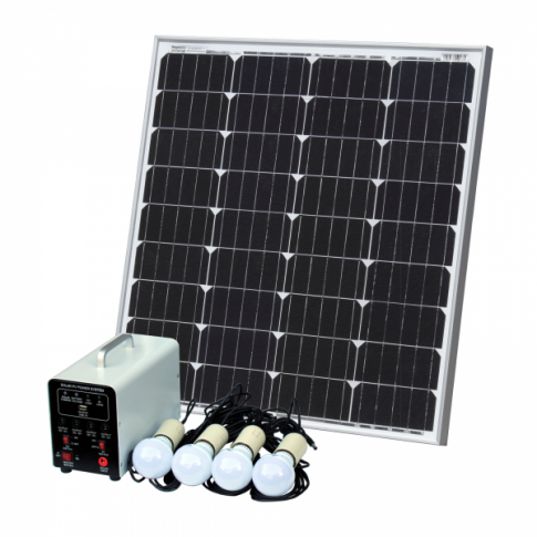Off-Grid Solar Lighting System with 80W solar panel, 4 LED Lights, Solar Charge Controller and Lithium Battery