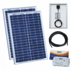 40W (20W+20W) solar charging kit with 10A controller and 5m cable
