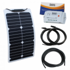 20W Semi-flexible durable ETFE back-contact solar charging kit for motorhome, caravan, campervan, rv, boat or yacht