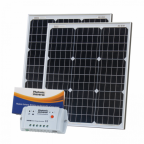 100W (50W+50W) solar charging kit with 10A controller and 2 x 5m cables (German solar cells)