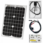 10W 12V solar trickle charging kit with 5A solar controller and battery cable with crocodile clips