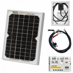 5W 12V solar trickle charging kit with 5A solar controller and battery cable with crocodile clips