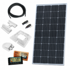 150W 12V dual battery solar charging kit (made of German solar cells) with 10A controller, mounting brackets and cables