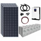 1.4kW 24V Complete Off-grid solar power system with 4 x 360W solar panels, 3kW hybrid inverter and a 7.2kWh battery bank