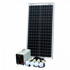 Off-Grid Solar Lighting System with 40W solar panel, 4 LED Lights, Solar Charge Controller and Lithium Battery