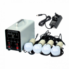 Off-Grid Lighting System with mains adaptor, 4 LED Lights, Solar Charge Controller and Lithium Battery